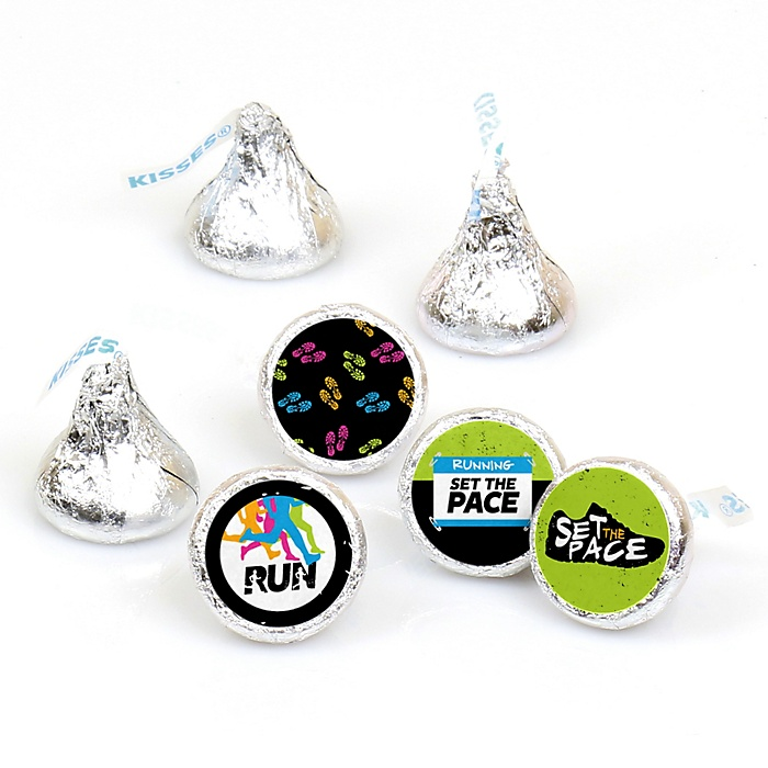 Set The Pace - Running - Track, Cross Country or Marathon Round Candy Sticker Favors - Labels Fit Hershey's Kisses  - 108 ct