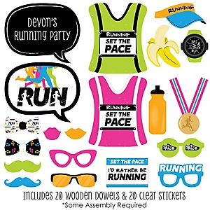 Set The Pace - Running - 20 Piece Track, Cross Country or Marathon Photo Booth Props Kit