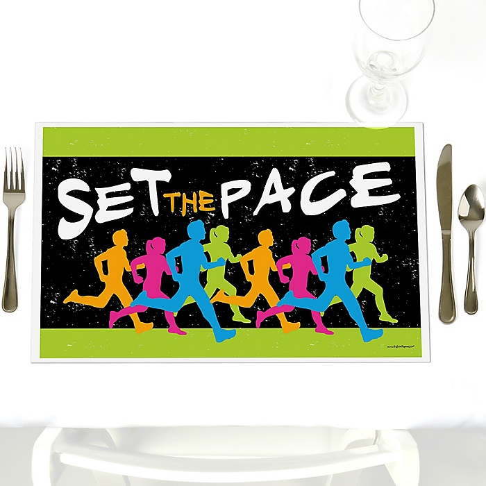 Set The Pace - Running - Party Table Decorations - Track, Cross Country or Marathon Placemats - Set of 12