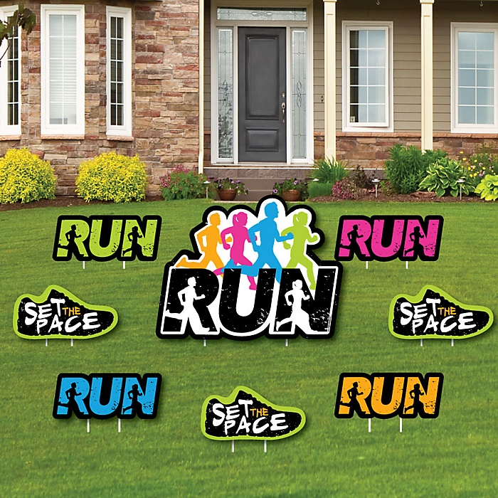 Set The Pace - Running - Yard Sign & Outdoor Lawn Decorations - Track, Cross Country or Marathon Yard Signs - Set of 8
