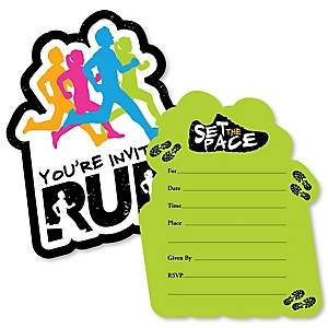 Set The Pace - Running - Shaped Fill-In Invitations - Track, Cross Country or Marathon Invitation Cards with Envelopes - Set of 12