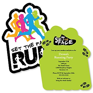Set The Pace - Running - Shaped Track, Cross Country or Marathon Invitations - Set of 12