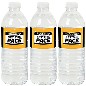 Set The Pace - Running - Track, Cross Country or Marathon Water Bottle Sticker Labels - Set of 20