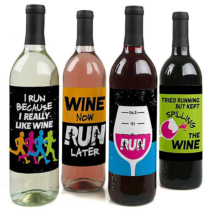 Set The Pace - Running - Wine Bottle Gift Labels - Track, Cross Country or Marathon Party Decorations for Women and Men - Wine Bottle Label Stickers - Set of 4
