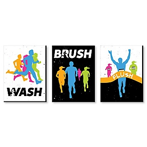 Set The Pace - Running - Kids Bathroom Rules Wall Art - 7.5 x 10 inches - Set of 3 Signs - Wash, Brush, Flush