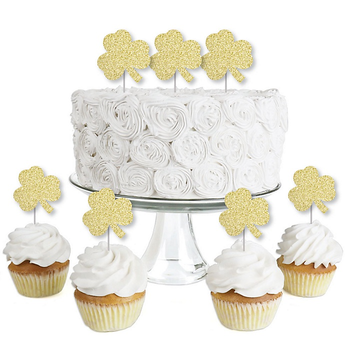 Gold Glitter Shamrock - No-Mess Real Gold Glitter Dessert Cupcake Toppers - St. Patrick's Day Party Clear Treat Picks - Set of 24