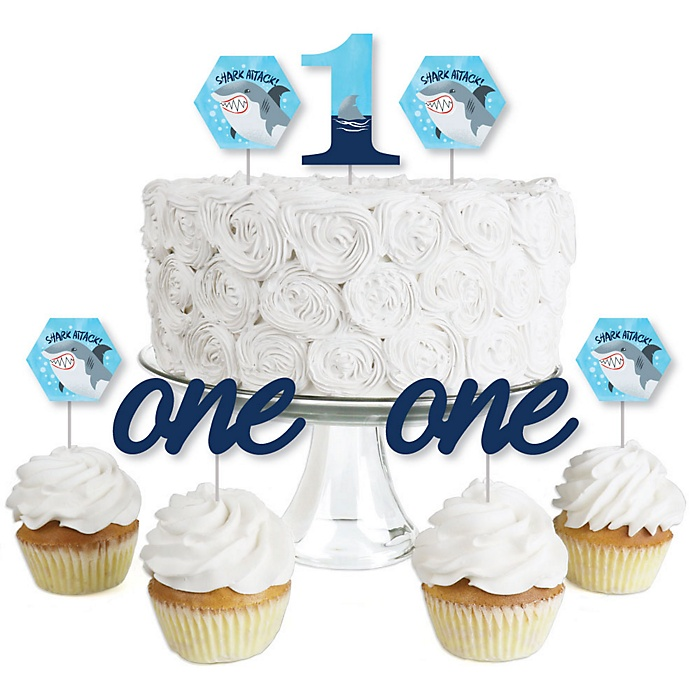 1st Birthday Shark Zone - Dessert Cupcake Toppers - Jawsome Shark Viewing Week First Birthday Party Clear Treat Picks - Set of 24