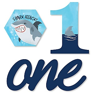 1st Birthday Shark Zone - DIY Shaped Jawsome Shark Viewing Week First Birthday Party Cut-Outs - 24 ct