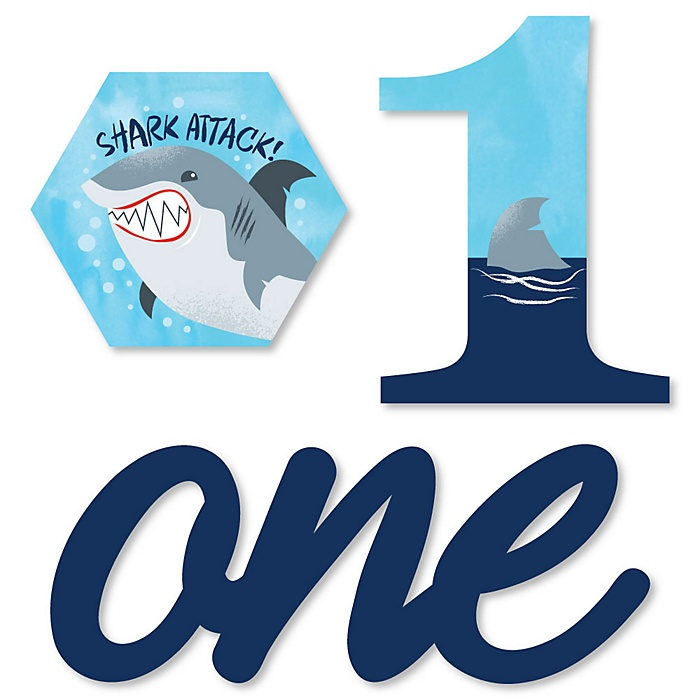 1st Birthday Shark Zone - DIY Shaped Jawsome Shark First Birthday Party Cut-Outs - 24 ct