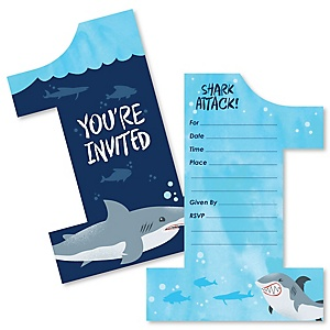 1st Birthday Shark Zone - Shaped Fill-In Invitations - Jawsome Shark Viewing Week First Birthday Party Invitation Cards with Envelopes - Set of 12