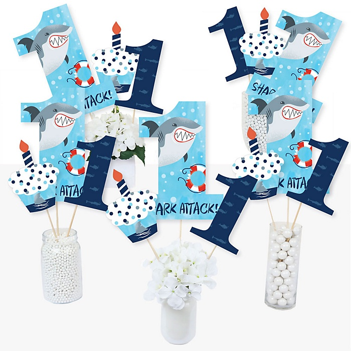 1st Birthday Shark Zone - Jawsome Shark Viewing Week First Birthday Party Centerpiece Sticks - Table Toppers - Set of 15