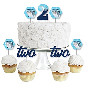2nd Birthday Shark Zone - Dessert Cupcake Toppers - Jawsome Shark Viewing Week Second Birthday Party Clear Treat Picks - Set of 24