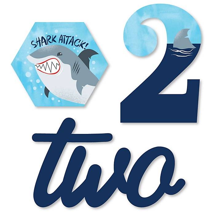2nd Birthday Shark Zone - DIY Shaped Jawsome Shark Viewing Week Second Birthday Party Cut-Outs - 24 ct