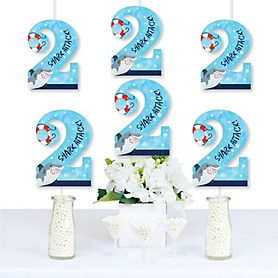 2nd Birthday Shark Zone - Two Shaped Decorations DIY Jawsome Shark Viewing Week Second Birthday Party Essentials - Set of 20