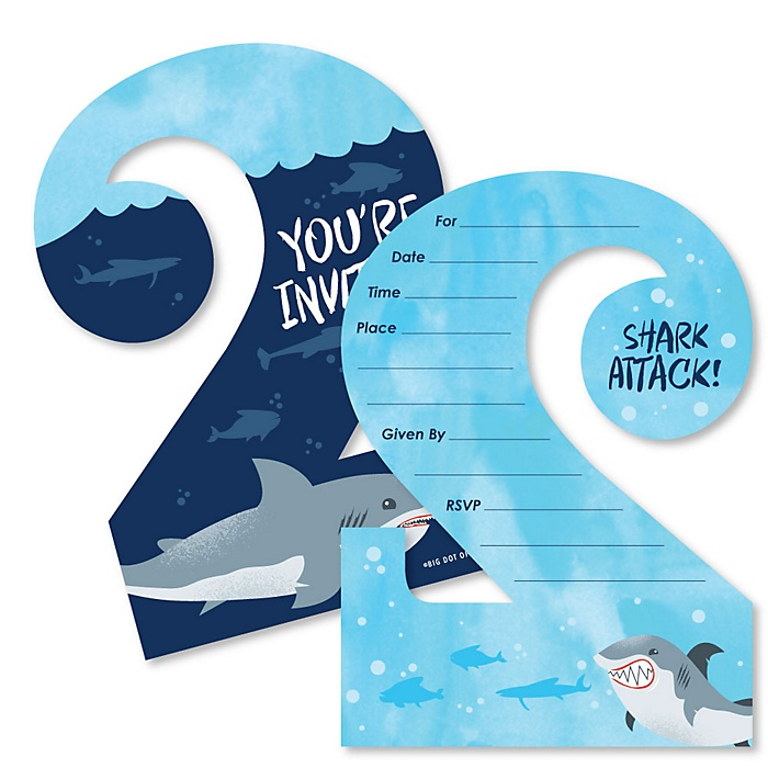2nd Birthday Shark Zone - Shaped Fill-In Invitations - Jawsome Shark Viewing Week Second Birthday Party Invitation Cards with Envelopes - Set of 12