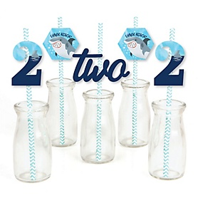 2nd Birthday Shark Zone - Paper Straw Decor - Jawsome Shark Viewing Week Second Birthday Party Striped Decorative Straws - Set of 24