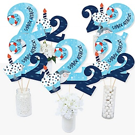 2nd Birthday Shark Zone - Jawsome Shark Viewing Week Second Birthday Party Centerpiece Sticks - Table Toppers - Set of 15