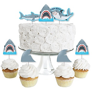 Shark Zone - Dessert Cupcake Toppers - Jawsome Shark Viewing Week Party or Birthday Party Clear Treat Picks - Set of 24