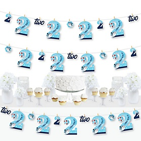 2nd Birthday Shark Zone - Jawsome Shark Second Birthday Party DIY Decorations - Clothespin Garland Banner - 44 Pieces