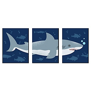 Shark Zone - Nursery Wall Art, Kids Room Decor and Jawsome Shark Viewing Week Home Decoration - 7.5 x 10 inches - Set of 3 Prints