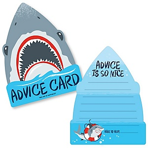 Shark Zone - Wish Card Jawsome Shark Viewing Week Baby Shower Activities - Shaped Advice Cards Game - Set of 20
