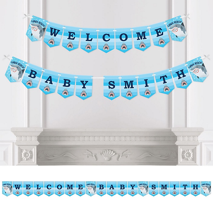 Shark Zone - Personalized Jawsome Shark Viewing Week Party or Birthday Party Bunting Banner & Decorations