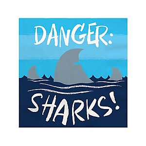 Shark Zone - Jawsome Shark Party or Birthday Party Cocktail Beverage Napkins - 16 ct