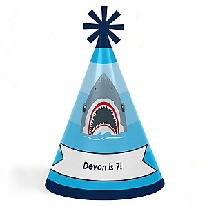 Shark Zone - Personalized Cone Jawsome Shark Happy Birthday Party Hats for Kids and Adults - Set of 8 (Standard Size)