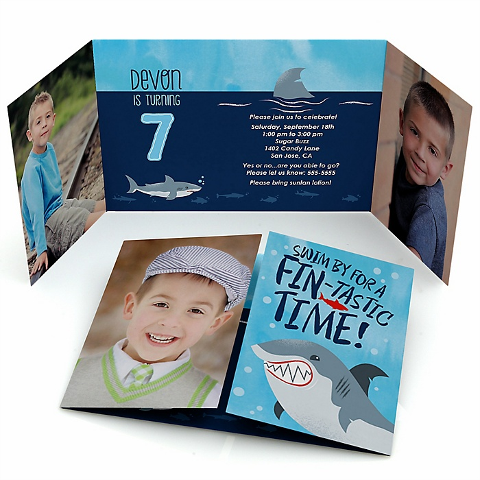 Shark Zone - Personalized Jawsome Shark Viewing Week Party or Birthday Party Birthday Party Photo Invitations - Set of 12