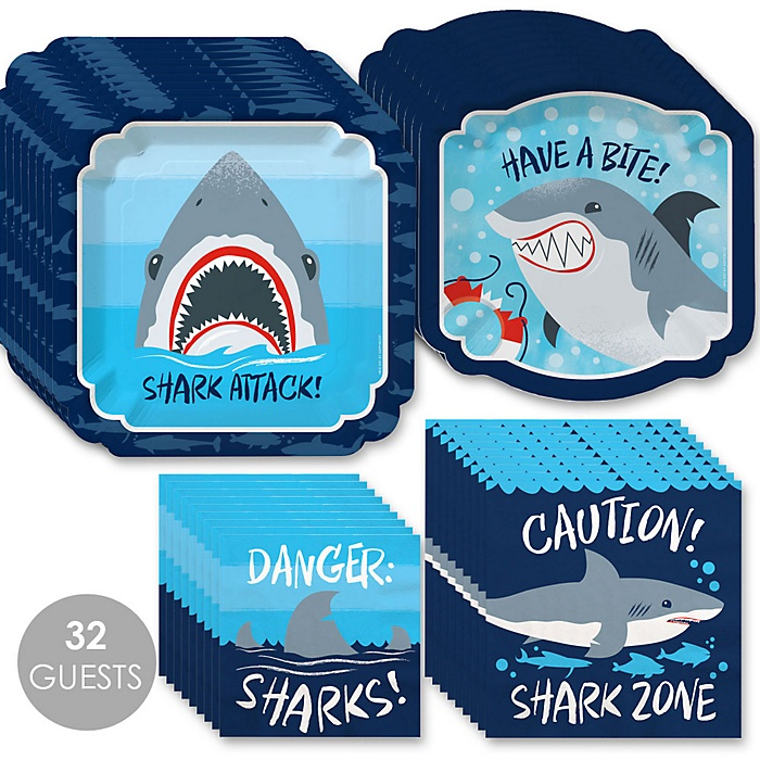 Shark Zone - Jawsome Shark Party or Birthday Party Tableware Plates and Napkins - Bundle for 32