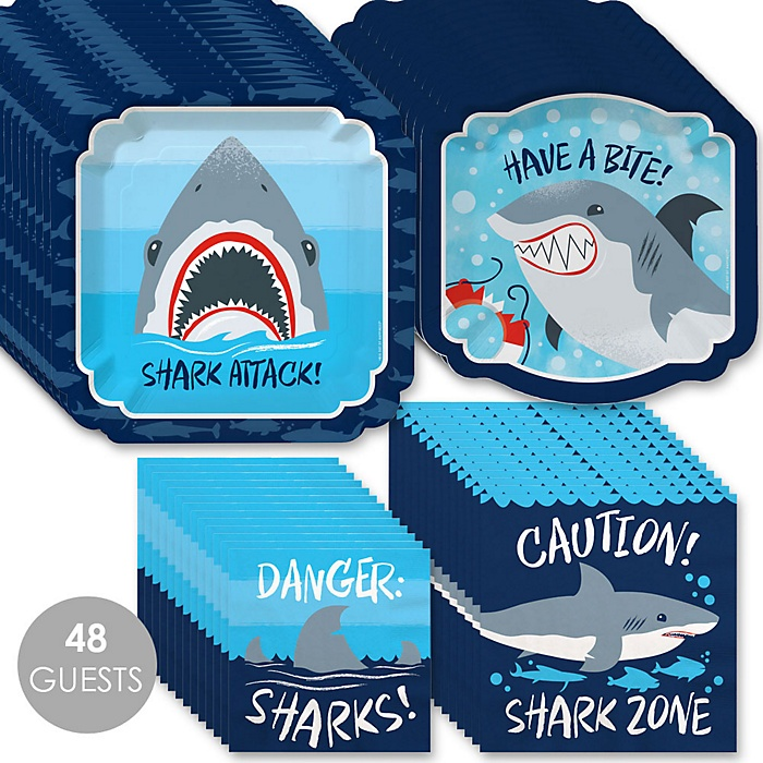 Shark Zone - Jawsome Shark Party or Birthday Party Tableware Plates and Napkins - Bundle for 48