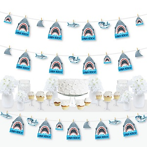 Shark Zone - Jawsome Shark Party or Birthday Party DIY Decorations - Clothespin Garland Banner - 44 Pieces