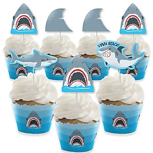 Shark Zone - Cupcake Decorations - Jawsome Shark Viewing Week Party or Birthday Party Cupcake Wrappers and Treat Picks Kit - Set of 24