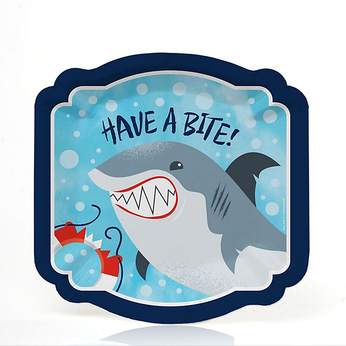 Shark Zone - Jawsome Shark Party or Birthday Party Dessert Plates  - 16 ct