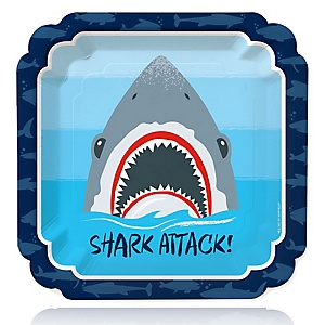 Shark Zone - Jawsome Shark Party or Birthday Party Dinner Plates - 16 ct