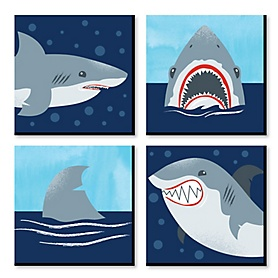 Shark Zone - Kids Room and Home Decor - 11 x 11 inches Wall Art - Set of 4 Prints for Kid's Room