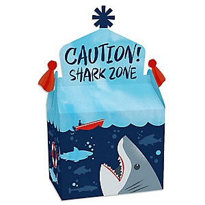 Shark Zone - Treat Box Party Favors - Jawsome Shark Party or Birthday Party Goodie Gable Boxes - Set of 12