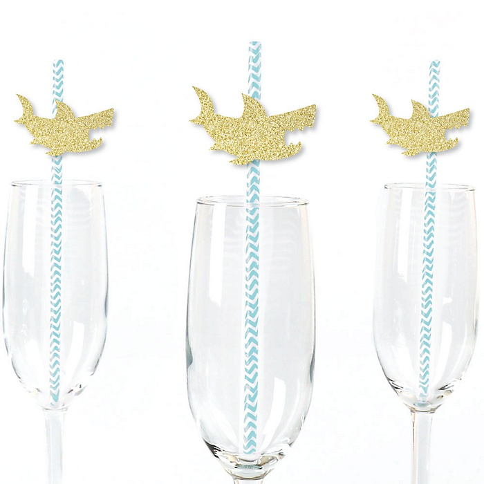 Gold Glitter Shark Party Straws - No-Mess Real Gold Glitter Cut-Outs and Decorative Jawsome Shark Viewing Week Party or Birthday Party Paper Straws - Set of 24
