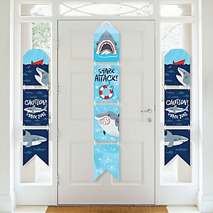 Shark Zone - Hanging Vertical Paper Door Banners - Jawsome Shark Party or Birthday Party Wall Decoration Kit - Indoor Door Decor