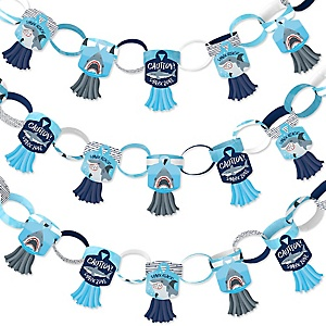 Shark Zone - 90 Chain Links and 30 Paper Tassels Decoration Kit - Jawsome Shark Party or Birthday Party Paper Chains Garland - 21 feet