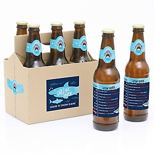 Shark Zone - Drink When TV Show Game - Decorations for Women and Men - 6 Beer Bottle Labels and 1 Carrier