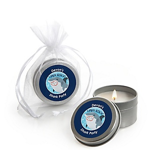 Shark Zone - Personalized Jawsome Shark Viewing Week Party or Birthday Party Candle Tin Favors - Set of 12