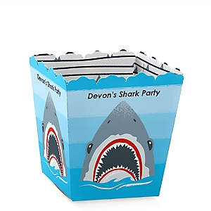 Shark Zone -  Mini Favor Boxes - Personalized Jawsome Shark Viewing Week Party or Birthday Party Treat Candy Boxes - Set of 12
