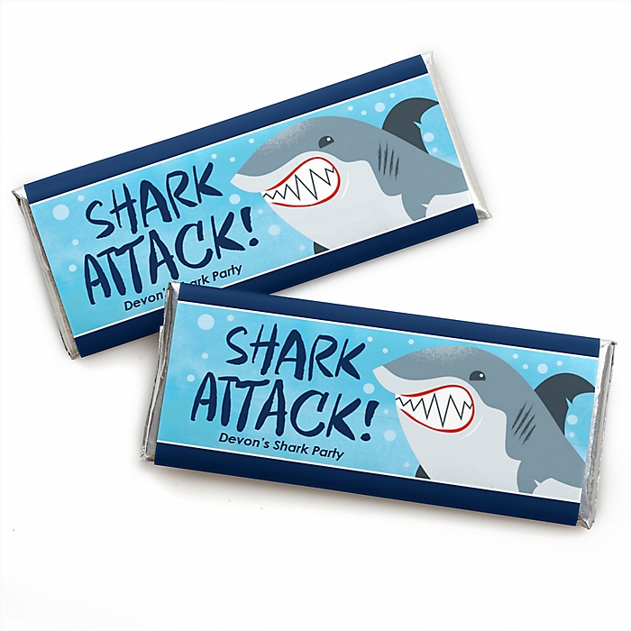 Shark Zone - Personalized Candy Bar Wrapper Jawsome Shark Viewing Week Party or Birthday Party Favors - Set of 24