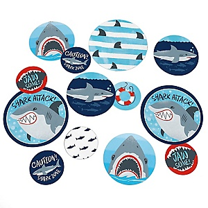 Shark Zone - Jawsome Shark Viewing Week Party or Birthday Party Giant Circle Confetti - Decorations - Large Confetti 27 Count