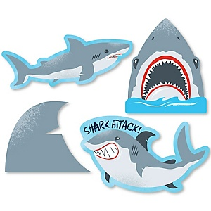 Shark Zone - DIY Shaped Jawsome Shark Viewing Week Party or Birthday Party Cut-Outs - 24 ct