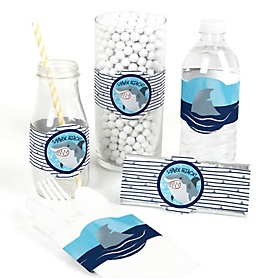 Shark Zone - DIY Party Supplies - Jawsome Shark Viewing Week Party or Birthday Party DIY Wrapper Favors & Decorations - Set of 15