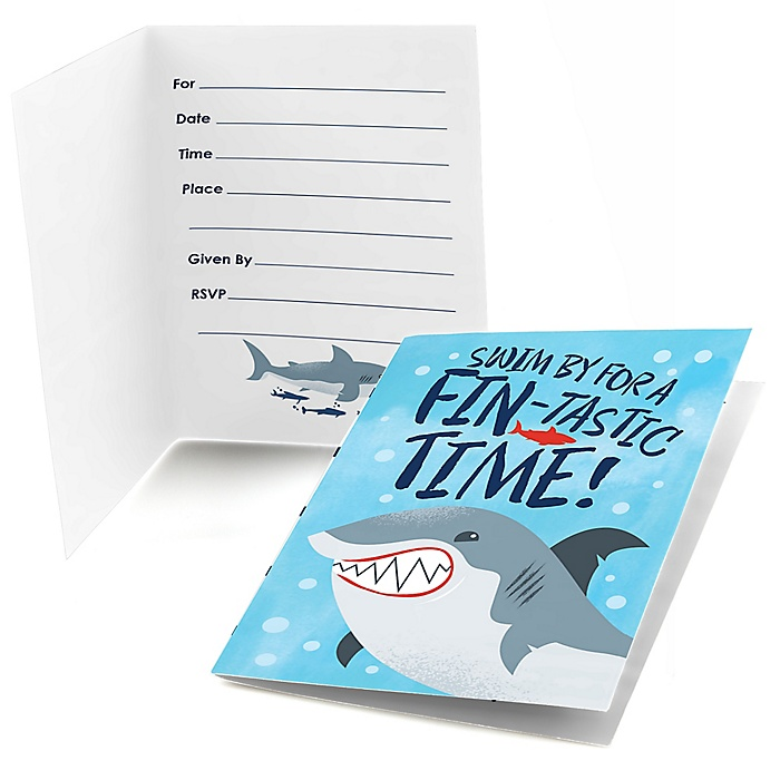 Shark Zone - Fill In Jawsome Shark Viewing Week Party or Birthday Party Invitations - 8 ct