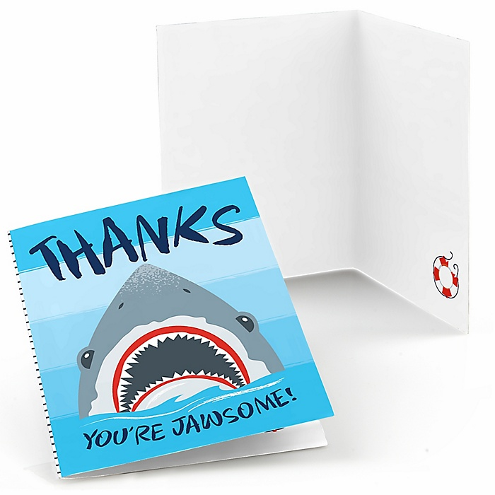 Shark Zone - Jawsome Shark Viewing Week Party or Birthday Party Thank You Cards - 8 ct