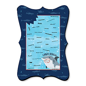 Shark Zone - Unique Alternative Guest Book - Jawsome Shark Party or Birthday Party Signature Mat